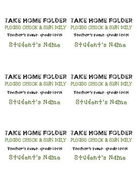 Take Home Folder Labels- Editable