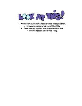 Take Home Folder Notes