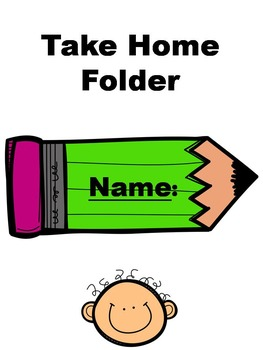 Take Home Folder Sheet (Bright Green Pencil with Kids) can be edited