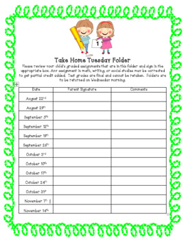Take Home Folder Template: Editable