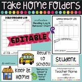 Take Home Folders with EDITABLE labels, Reading Log, Behavior Log, Homework Log