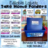 Take Home Folders with Editable Labels, Reading Log, Behavior Log, & Homework