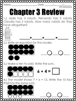 """Chapter 3 Review """"Go Math"""" Form: B Included"""