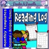 Reading Log - Take Home Monthly Seasonal & Religious Themes