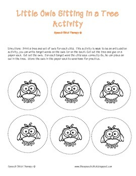 Take Home Owl Articulation Game