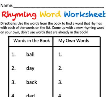 Take Home Packet: Rhyming Words