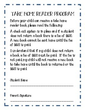 Take Home Reader Parent Note