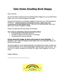 Take Home Reading Baggy Parent Letter