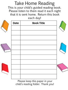 Take Home Reading Chart