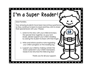 Take Home Reading Envelopes (I'm a Super Hero) and Supporting Materials