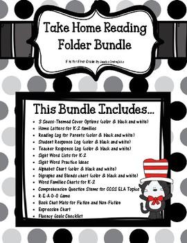 Take Home Reading Folder Bundle - Seuss Theme