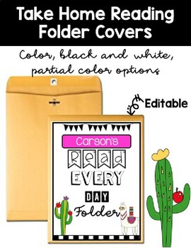 Cactus and Llama Take Home Reading Folder Cover