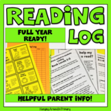 Reading Log with Editable Letter for Parents