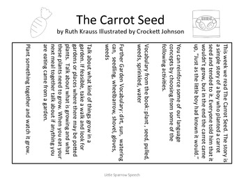 Home Language Practice for Ruth Krauss' The Carrot Seed