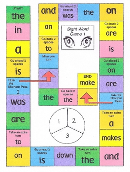 Take-Home Sight Word Board Game 1