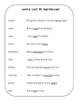 Take Home Sight Word Book #3