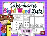 Take-Home Sight Word Lists