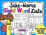 Take-Home Sight Word Lists: Fry 201-300