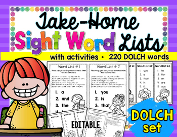 Take-Home Sight Word Lists: DOLCH