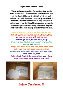 Take Home Sight Word Practice Cards