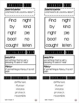 Take Home Spelling & Vocabulary List Grade 1