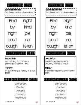 WONDERS Take Home Spelling & Vocabulary List Grade 1