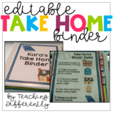 Student Take Home Binder for Special Education {Editable}