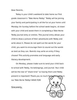 Take Home Teddy Letter Home