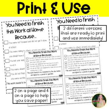 Take-Home Work Note- Editable Version Included