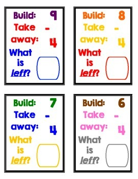 Take It Away! (Cube Subtraction Task Cards [Subtracting from 0-10])