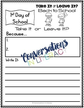 Back To School Writing Activities Take It or Leave It