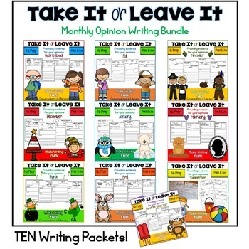 Monthly Writing Activities Take It or Leave It Bundle