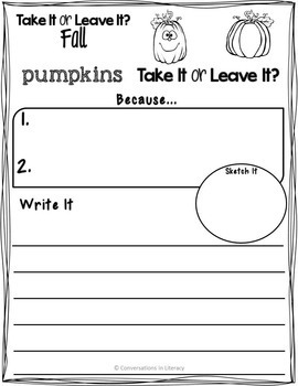 Take It or Leave It Fall Edition Providing Evidence in Opinion Writing