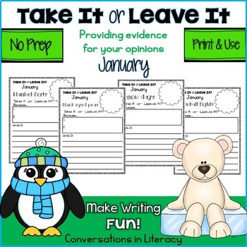 January Writing Activities Take It or Leave It