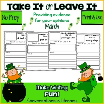 Independent Work Packets March Writing Activities Take It or Leave It