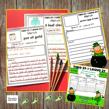 March Writing Activities Take It or Leave It Independent Work Packets