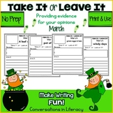 March Writing Activities Take It or Leave It