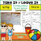 Summer Writing Activities Take It or Leave It