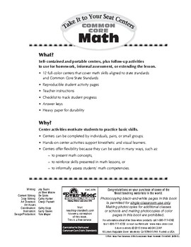 Take It to Your Seat  Math Centers, Grade 4
