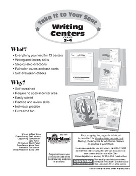 Take It to Your Seat Writing Centers, Grades 3-4