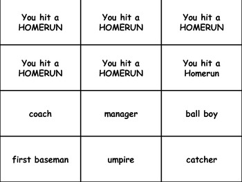 Take Me Out To The Ballgame.....with Nouns!