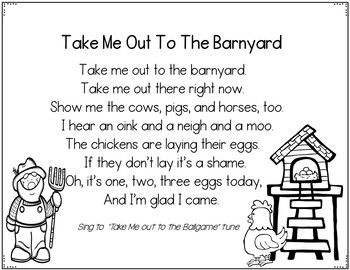 Take Me Out To The Barnyard (A Pocket Chart Song Activity)