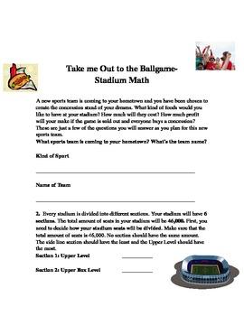 Take Me Out to the Ballgame- Stadium Math
