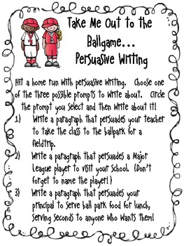 Take Me Out to the Ballgame Writing Prompt