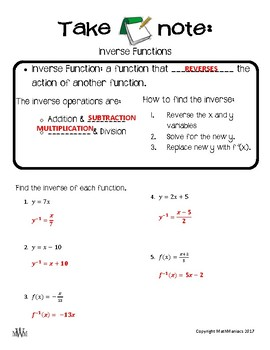 Take Note: Inverse Functions