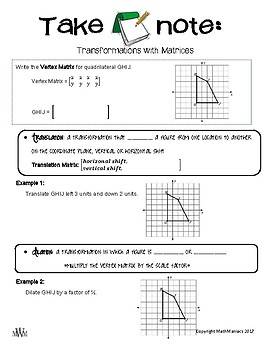 Take Note: Transformations with Matrices