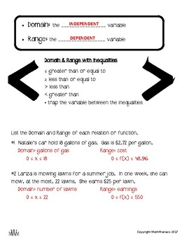 Take Note: domain & range