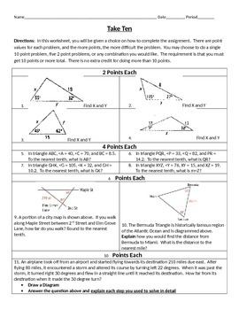 Take Ten - Law of Sines EDITABLE