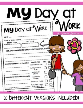 Take Your Child to Work Day Reflection Observation Sheet Activity