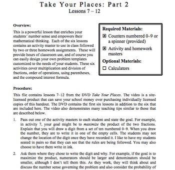 Take Your Places, Part 2: Lessons 7-12